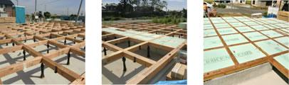 木工事:床組(床の施工)・断熱工事:床面断熱材施工