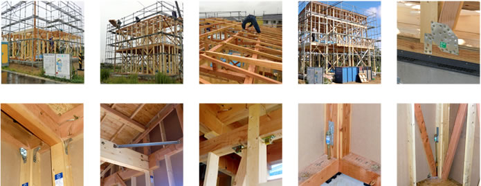 木工事:建て方(柱・小屋組などの上棟他)