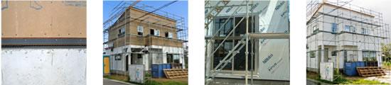 外壁工事:基礎パッキンカバー取付工事・防水工事(透湿防水シート、防水テープの施工)
